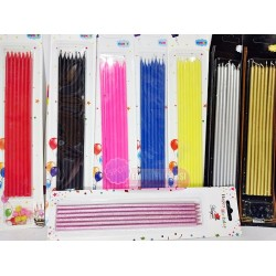 7 Renk İnce Uzun Çubuk Pasta Mumu 20 cm