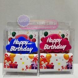 Pembe Renk Happy Birthday Yazılı Mum