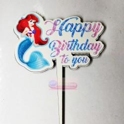 Denizkızı Happy Birthday Yazılı Pasta Üzeri Ahşap Yazı
