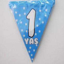 1 Yaş Mavi Yıldızlı Doğum Günü Süsü Afiş Flama 2m