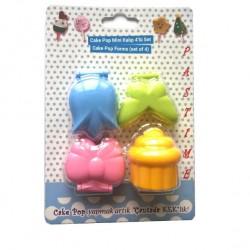 4'lü Cakepops Seti Kelebek Lale Fiyonk Cupcake