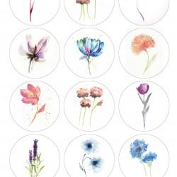 Çiçekler Pastel Renk Yenilebilir Kurabiye Resim Baskısı