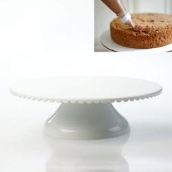 Döner Başlıklı Plastik Pasta Sıvama Standı Beyaz