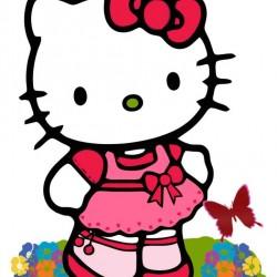 Hello Kitty Kelebekli Yenilebilir Pasta Resim Baskısı