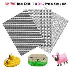 Pastime 3'lü Doku Kalıbı Set 2 Petek-Kare-Yün