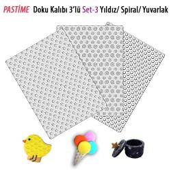 Pastime 3'lü Doku Kalıbı Set 3 Yıldız-Spiral-Yuvarlak