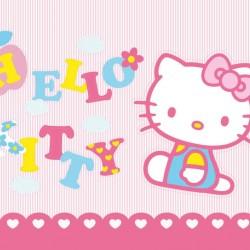 Pembe Hello Kitty Kelebekli Yenilebilir Pasta Resim Baskısı